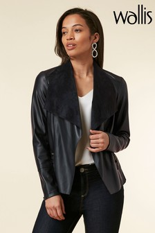 Wallis Blue Ink PU Waterfall Jacket