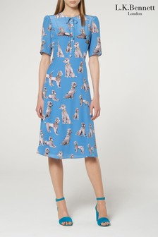 L.K.Bennett Blue Crawford Silk Tea Dress