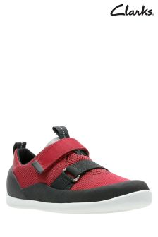 Clarks Red Black Play Pioneer Double Velcro Kids Trainer