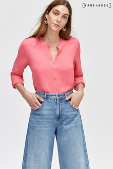 Warehouse Pink Button Back Blouse