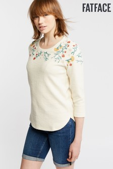 FatFace Natural Bea Embroidered Crew