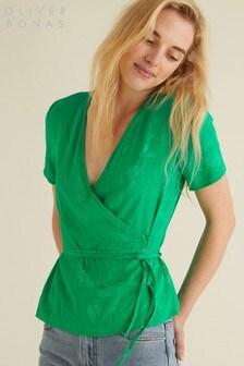 Oliver Bonas Green Scenic Wrap Top