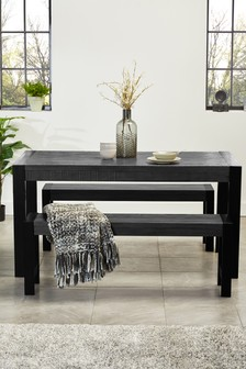 Hudson Grey Dining Table and Bench Set