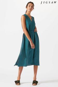 Jigsaw Green Silk Dress
