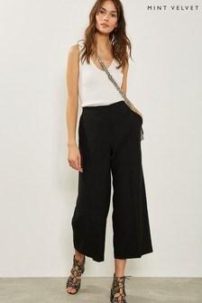 Mint Velvet Black Wide Crop Trouser
