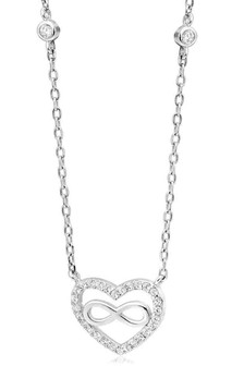 Beaverbrooks Silver Cubic Zirconia Infinity Necklace