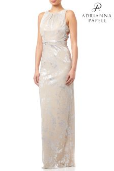 Adrianna Papell Champagne Halter Long Dress
