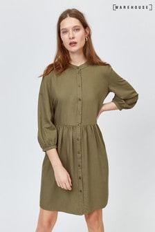 Warehouse Green Boxy Collarless Shirt Dress