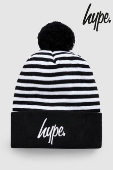 Hype. Black/White Stripe Bobble Hat