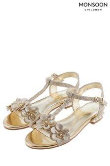 Monsoon Gold Pearl And Flower Heel Sandal