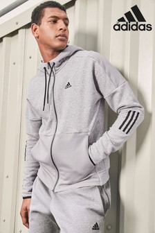 adidas Grey Heather Side Stripe Zip Through Hoody
