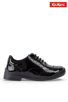 Kickers® Black Bridie Lace-Up Patent Brogues