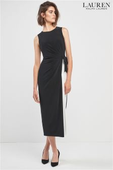 Lauren By Ralph Lauren Black Sleeveless Wrap Front Dress