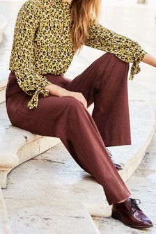 Flannel Wide Leg Trousers
