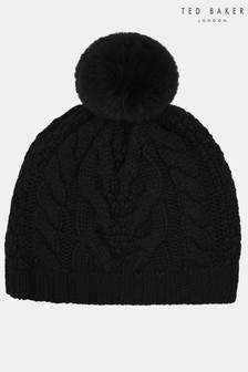Ted Baker Quirsa Black Cable Knit Bobble Hat