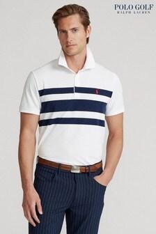 Polo Golf by Ralph Lauren White Bold Stripe Short Sleeve Polo