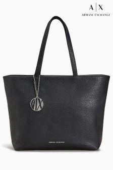 Armani Exchange Black Matt Zip Top Shopper Bag