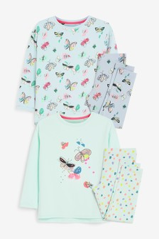 2 Pack Butterfly Pyjamas With Appliqué Placement (3-16yrs)