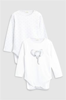 Elephant Long Sleeve Bodysuits Two Pack (0mths-2yrs)