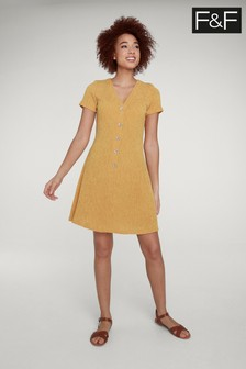 F&F Orange Button Through Skater Dress