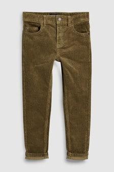 Oprijete hlače iz rebrastega žameta s petimi žepi (3–16 let)