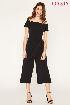 Oasis Black Scallop Bodice Jumpsuit