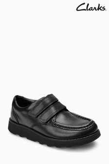 Clarks Crown Tate Black Leather Velcro School Shoe