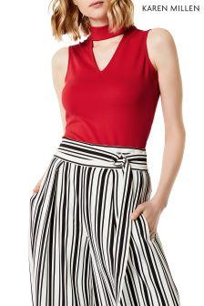 Karen Millen Red Ponte Choker Jersey Top