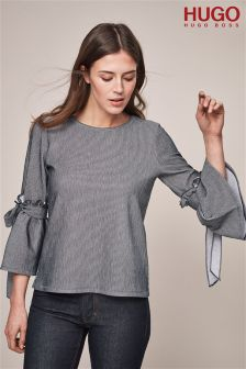 HUGO Grey Ribbed Bell Sleeve Bow Tie Top