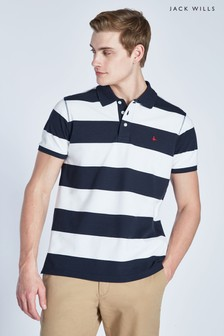 Jack Wills Navy Melcombe Rugby Stripe Polo
