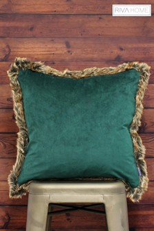 Riva Home Kiruna Velvet And Faux Fur Trim Cushion