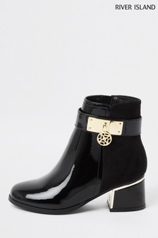 River Island Black Side Trim Charm Ankle Boots