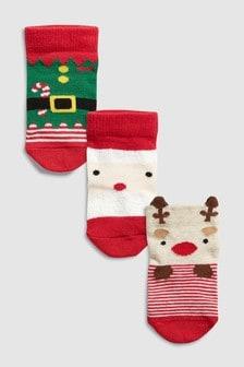 Набор из трех пар носков с рождественским рисунком (Младшего возраста)