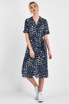 4308757461f Print Short Sleeve Shirt Dress