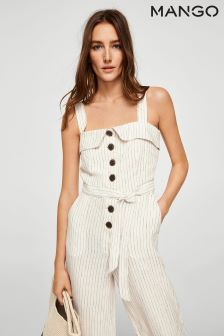 Mango Cream Stripe Jumpsuit