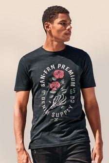 T-Shirt mit Pailletten-Rosengrafik
