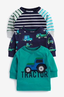 3 Pack Long Sleeve Tractor T-Shirts (3mths-7yrs)