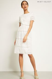 Mint Velvet White Broderie Midi Dress