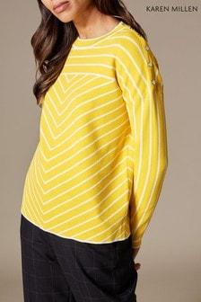 Karen Millen Yellow/Multi Mixed Pinstripe Jumper