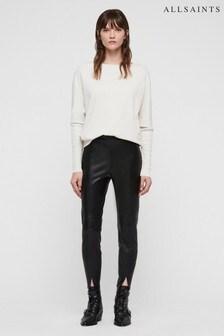 All Saints Black Leather Effect Lark Legging