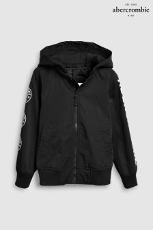 Abercrombie & Fitch Black Hooded Bomber Jacket
