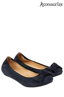 Accessorize Blue Olivia Elasticated Suede Bow Ballerina