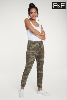 F&F Multi Green Camo High Waisted Jean