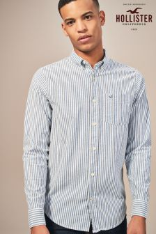 Белая хлопковая рубашка в синюю полоску Hollister