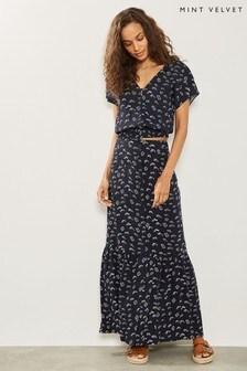 Mint Velvet Blue Lara Print Boho Skirt