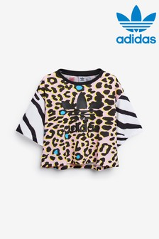 adidas Originals Animal Print Cropped T-Shirt