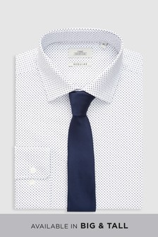 Dot Print Shirt With Tie