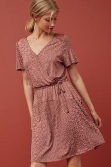 Lace Detail Jersey Wrap Dress