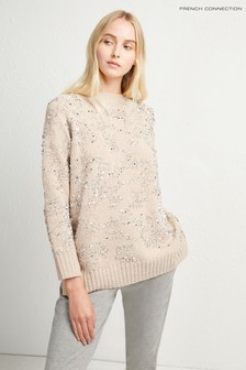 French Connection Nude Rosemary Sequin Raglan Knit