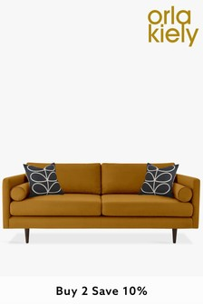Orla Kiely Mimosa Large Sofa With Walnut Feet